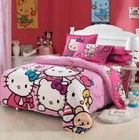 3 Pieces  100/% Cotton Fitted sheet /& Duvet cover sets Hello Kitty  #5303