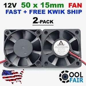 Gdstime 50mm x 50mm x 15mm 12v Cooling Fan DC Brushless Axial 5015 2Pin 2Pcs