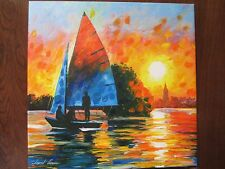 """AFREMOV GICLEE 15 1/4"""" X 15 1/4"""", """"SAIL BOAT-CITY SUNSET"""" 5/25,2008 RDY TO HANG"""