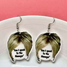 "Novelty Karen ""Can I Speak To The Manager"" Fun Dangle Acrylic Earrings/ Quirky"