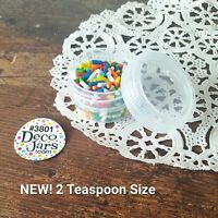 12 Screw Cap 1/3 oz Container Jars 2 tsp 3801 CLEAR Caps Plastic DecoJars USA