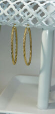 "14k Yellow Italian Gold Spendido Oro Twirling Hoop 2 3/16"" Saddleback Earrings"