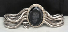 BLACK CAMEO Bracelet VTG Antique Rope Cord Rhinestone H Joe Silver RARE Art Deco