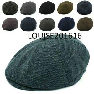 Peaky Newsboy Blinders Hat Flat Cap Herringbone Tweed Wool Baker Boy Gatsby UK