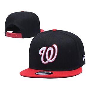 New Era 9FIFTY Adult MLB Washington Nationals Snapback Cap 950 Hat BLK/red New
