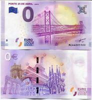 Ponte 25 De Abril Portugal 0 Euro Souvenir Note 2018 Series 1 25 April Bridge