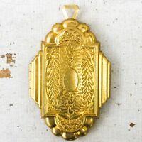 vtg Locket Large Art Deco Nouveau Ornate pendant antique gold aesthetic repro