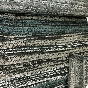 4.6 metres heavy taupe and teal striped upholstery fabric