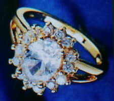 YELLOW GOLD FILLED  WHITE CUBIC ZIRCONIAN CLUSTER RING SIZE O