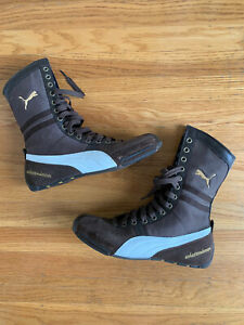 🌟RARE Vintage Puma schattenbox brown and Gold Suede Boxing Boots Womens 7