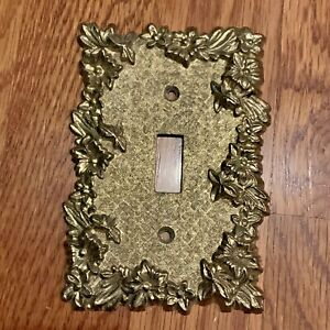 Switch Wall Plate Cover Metal Brass Floral Butterfly Ornate Vintage #LL1