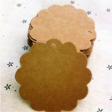50Pcs Flower Round Kraft Paper Hang Tags Wedding Party Favor Label Gift Cards,