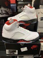 Nike Air Jordan 5 Retro True White/Fire Red-Black DA1911-102 Mens Size 13 All OG