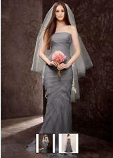 NWT White by Vera Wang Charcoal Chiffon wedding dress size 0