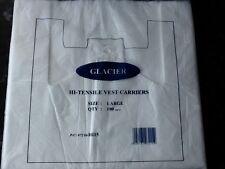 White Plastic Vest Carrier Bags 11x17x21 Glacier x 100