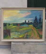 Fine Danish Mid-Century oil. Twilight Sunset over the fields. Signed. 1950s.