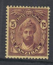 Zanzibar SG307 1927 25c Violet/Jaune MTD Excellent État