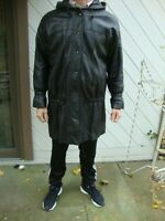 Phoenix Lined Black Leather Hooded Jacket Size L Discounted for Wear!