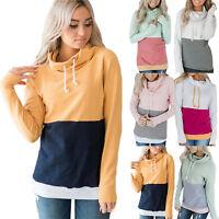 Women Cowl Neck Hoodie Sweater Long Sleeve Casual Sweatshirt Pullover Jumper Tee