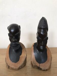 Set Of 2 african Figurines In Wood