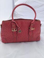 Dooney Bourke Pink Ostrich Leather Satchel Purse Handbag