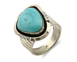 Navajo Ring .925 SOLID Silver Blue Turquoise Artist Signed Bear Claw C.80's