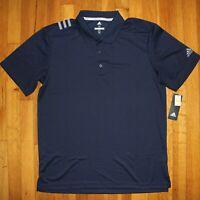 Adidas Golf 3 Stripe Yoke Short Sleeve Golf Polo Shirt Mens M UPF 50 Navy Blue