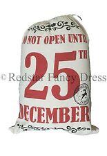 LARGE SANTA SACK HESSIAN VINTAGE DESIGN CHRISTMAS STOCKING GIFT BAG JUTE
