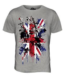Union Jack Abstrakter Aufdruck Herren T-Shirt Großbritannien Flagge UK Top