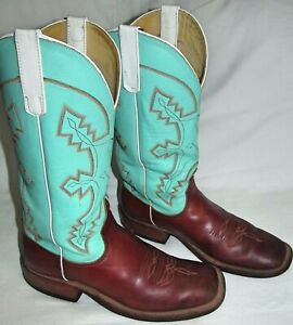 Anderson Bean Turquoise Leather Cowboy Boots Womens Size 8.5 B S1016 Made in USA