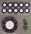 "10 Exquisite Royal Doulton 1909 Cobalt & Gold Encrusted 10 1/4"" Dinner Plates"