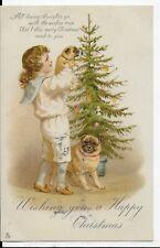 LOVELY GENUINE VINTAGE TUCK POSTCARD,CUTE CHILDREN,DOG,TOYS,CHRISTMAS TREE