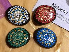 Alchemy Stones: Set of 4 Handpainted Mandala Stones — Four Elements Altar Set SM