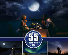 55 night moon sky Photoshop Overlays, beautiful dark starry nature skies, jpg
