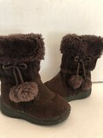 Toddler Girls Michael Kors  Lil Kimmy 2 BROWN Suede/Sweater Winter Boots Size 7