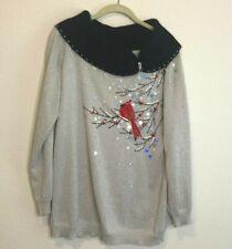 Jack B. Quick Holiday Sweater Sequined Jeweled Cardinal Christmas Size Large