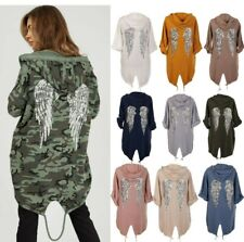Women Sequin Angel Wings Back Oversized Hoodie Sweatshirt Jacket Coat Cardigan