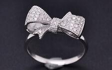 Solid 18K 750 White Gold Bowknot Natural Diamond Fashion Ring