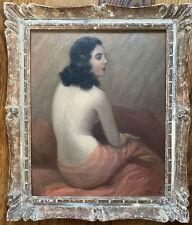 Tableau Art Deco Modèle Femme Nue Peinture signée Jean Jannel 1894-?