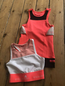 Bundle Stella McCartney Elastic Seamless Sports Bra Top S Uk 8 10 Neon Pink Crop