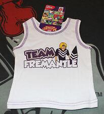 Fremantle Dockers AFL Infant Boys White Mascot Printed Cotton Singlet Size 0 New