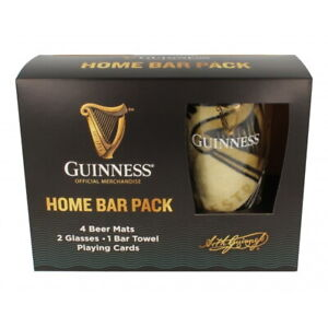 Guinness Home Bar Set (2 Pint Glasses, Bar Towel, 4 Coasters & Playing Cards)