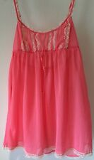 Victoria's Secret Coral Sheer Lace Trim Chemise Nightie Lingerie Small