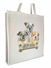 Bulldog Puppy Cotton Shopping Tote Bag with Gusset and Long Handles Perfect Gift