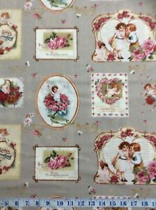 Victorian Rose Vintage Postcards Grey Cotton Quilting Fabric 1/2 YARD
