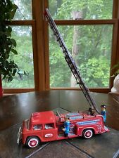 Vintage 1960 STI Tin Litho Friction Toy Fire Truck With Working Ladder