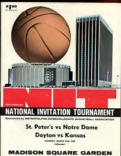 1968 NCAA Basketbal NIT Championship Game Program Kansas vs Dayton EX+