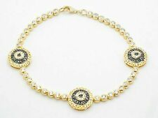 18kt Gold Silver Evil Eye Blue & White Sapphire Kabbalah Tennis Bracelet Gift