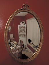 Vintage French Gesso Louis XVI Bow Oval Wall Rococo Gilt Mirror