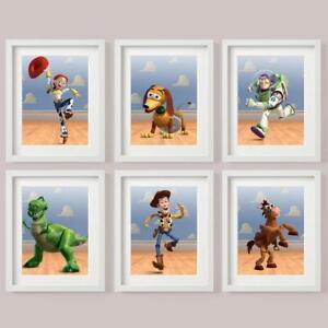 TOY STORY SET 6 Picture Print CLOUDS Buzz Woody Jessie Slinky Bullseye Rex